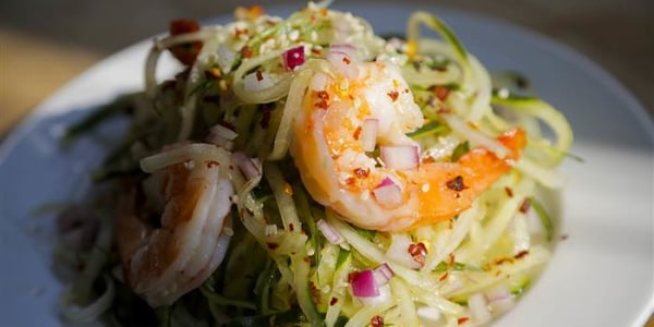 Chilled sweet-and-sour cucumber noodles with shrimp