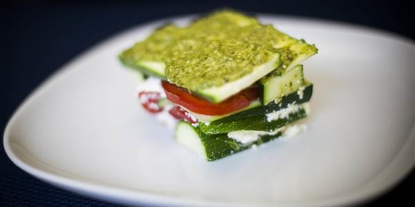 No-Cook Lasagna with Tomato, Basil Pesto and Zucchini