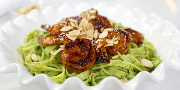Smoky Shrimp and Linguine with Almond-Kale Pesto