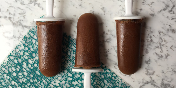 Coffee Popsicles with Chocolate, Peanut Butter and Banana