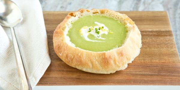Healthy Spring Pea Soup Bread Bowls