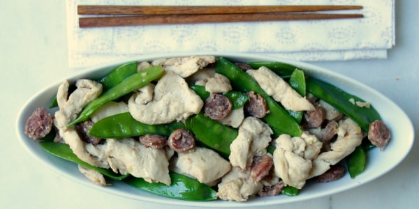 15-Minute Chinese Chicken and Sausages with Snow Peas