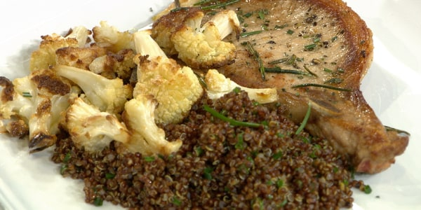 Al's Pork Chops with Quinoa and Whole-Roasted Cauliflower