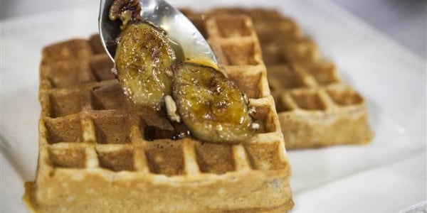 Whole Grain Waffles with Bourbon-Brown Sugar Bananas