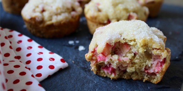 Sugar-Dipped Rhubarb Lemon Muffins