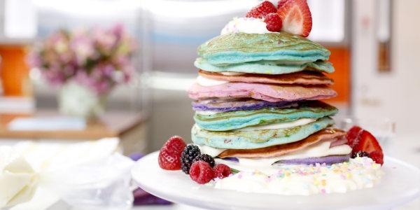 Rainbow Funfetti Pancake Cake