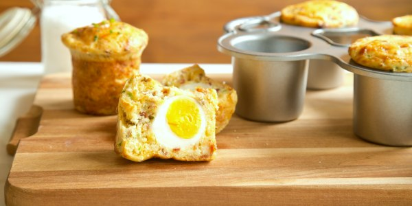 Bacon and Cheese Muffins with Soft-Boiled Egg
