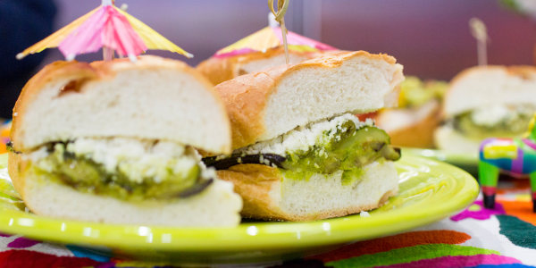 Mexican Grilled Eggplant, Zucchini and Poblano Sandwiches