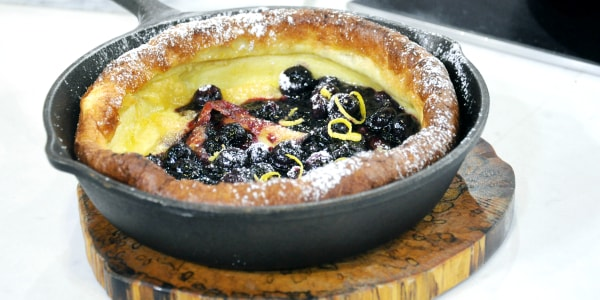 Al's Lemon Vanilla Dutch Baby with Blueberry Sauce