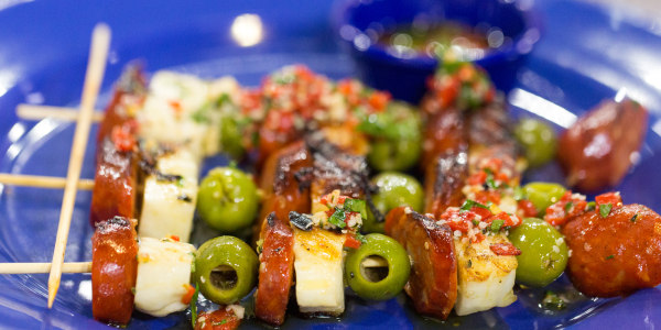 Grilled Chorizo and Halloumi Skewers