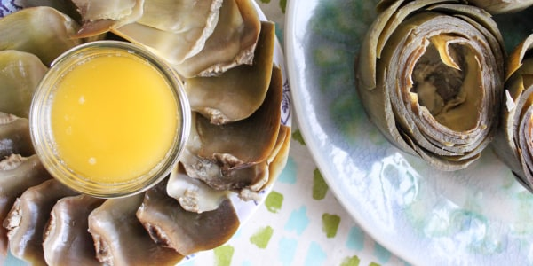 Slow Cooker Artichokes with Garlic Butter