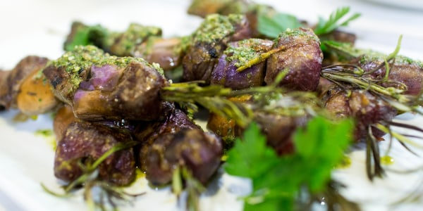 Grilled Rosemary Lamb Kebabs with Anchovy Salsa Verde