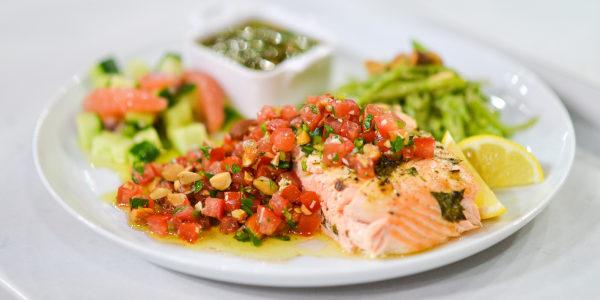 Roasted Salmon with Tomato Almond Relish