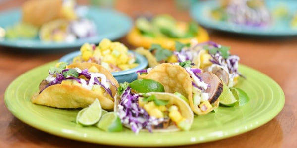 Grilled Pork Tenderloin Tacos with Pineapple Cucumber Salsa