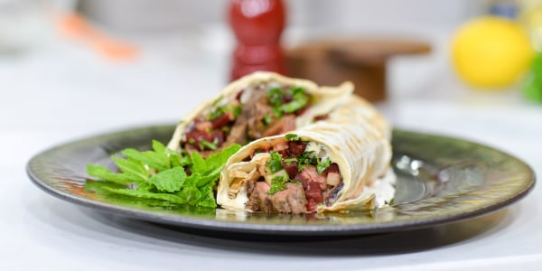 Flank Steak Shawarma with Garlicky Tahini and Beet Tabbouleh