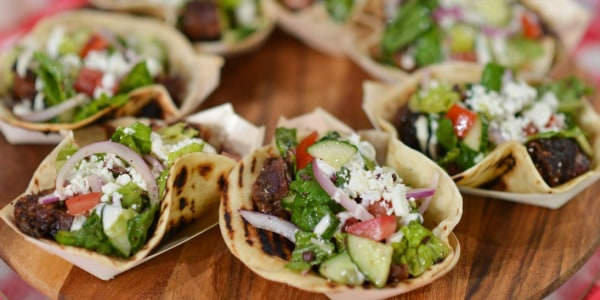 Brisket Burnt End Tacos with Greek Salad