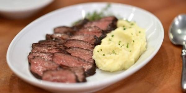 Seared Hanger Steak with Merlot-Mustard Pan Sauce