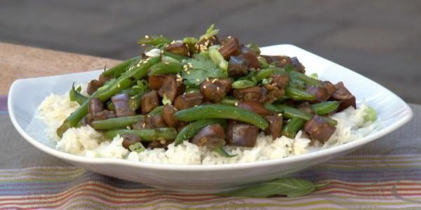Extra garlic green bean and eggplant stir-fry