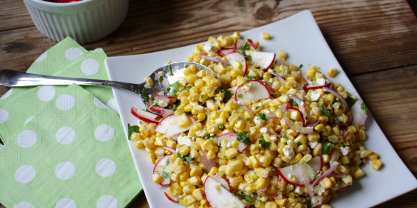 Corn Salad with Radish and Feta