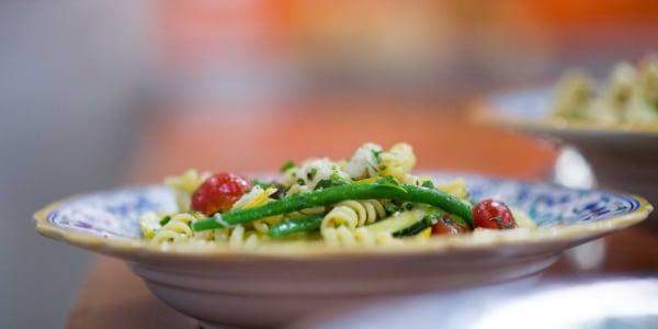 Easy Crab Pasta Salad with Grilled Lemon-Dijon Vinaigrette
