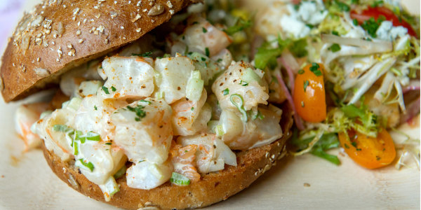 Popcorn Shrimp Salad Sandwiches with Old Bay Aioli