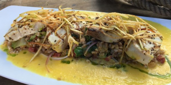 Grilled Swordfish with Farro Salad and Roasted Pepper Coulis