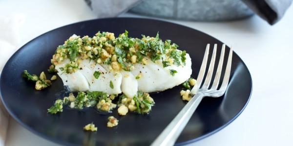 10-Minute Cod with Parsley-Walnut Pesto