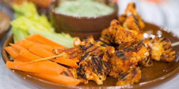 Low-Calorie Buffalo Wing Kebabs with Avocado Ranch Dip