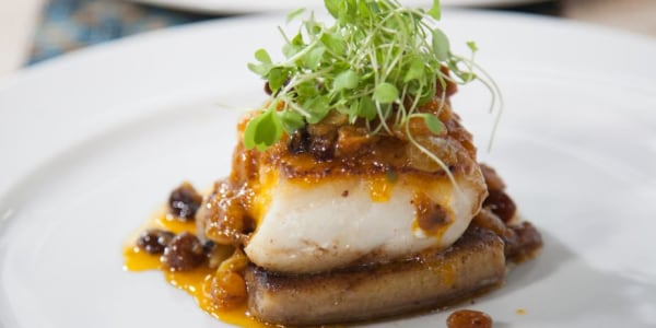 Brazilian Grouper with Bananas and Achiote Sauce
