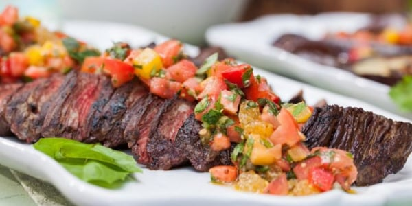 Hanger Steak with Tomato Salsa and Eggplant