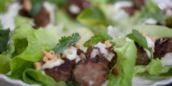 Martha Stewart's Mini Asian Meatballs in Lettuce Cups