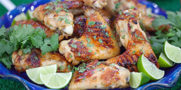 Grilled Chicken Wings with Lime, Cilantro & Maple