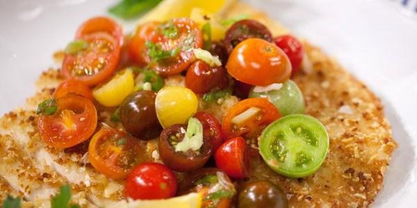 Almond Crusted Chicken Paillard with Tomato Salad