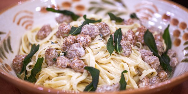 Tagliatelle and Italian Sausage with Sage Cream Sauce