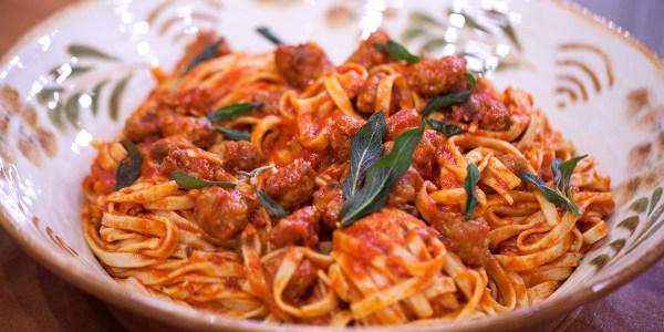 Pasta with Italian Sausage, Tomato Sauce and Crispy Sage