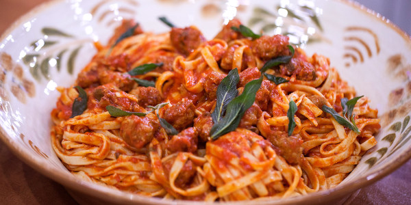 Pasta with Italian Sausage, Tomato Sauce and Crispy Sage