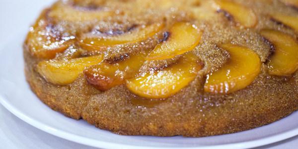 Cornbread Peach Upside Down Cake
