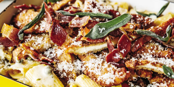 Guy Fieri's Chicken Rigatoni Saltimbocca Bake