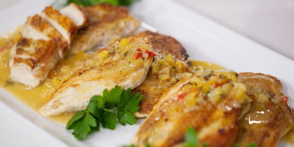 Crispy-Skinned Chicken Breasts with Vinegar-Pepper Pan Sauce