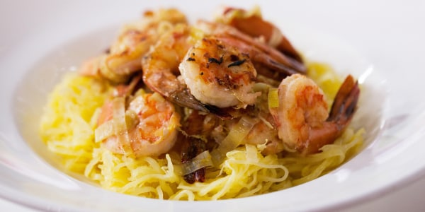Lemony Spaghetti Squash and Shrimp Scampi with Spicy Yogurt Sauce