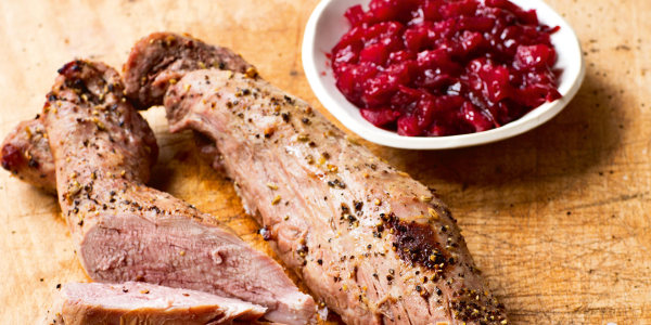 Cider-Roasted Pork Tenderloin with Roasted Plum Chutney