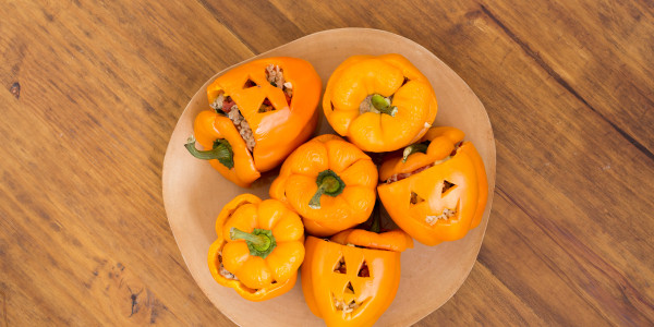 Turkey & Zucchini-Stuffed Jack-o-lantern Bell Peppers