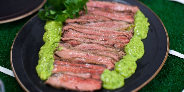 Grilled Flank Steak with Avocado Salsa Verde