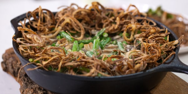 Green Bean Casserole with Bacon and Brussels Sprouts Leaves