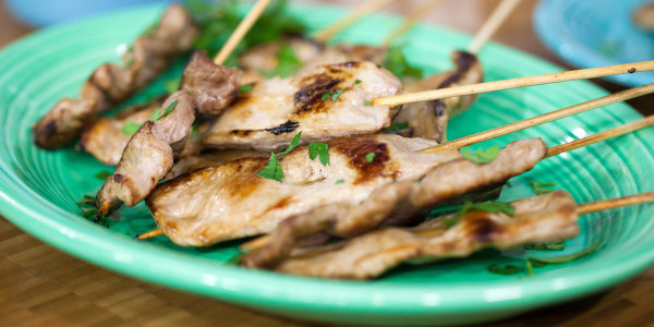 Pork Skewers with Peanut Butter Sauce