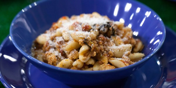 Cavatelli Pasta with Turkey and Sausage Tomato Ragu