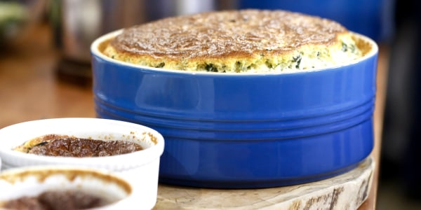 Tuscan Kale Soufflé with Leeks and Comte Cheese