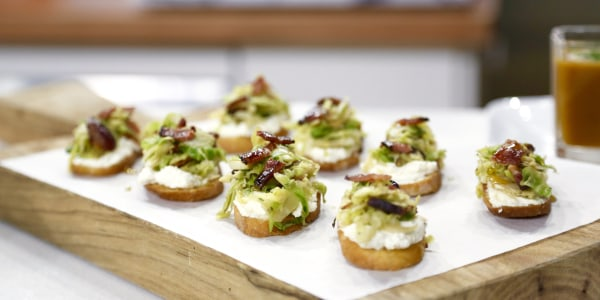 Crostini with Ricotta, Brussels Sprouts and Maple Bacon