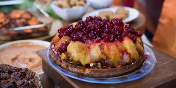 Apple Tarte Tatin with Cranberry Caramel