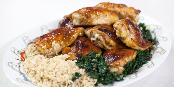 Honey-Hoisin Chicken Thighs with Stir-Fried Kale
